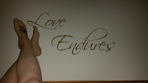 """I had the """"Love Endures"""" made for this very spot - it's what we try to live every day of our marriage by."""